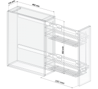 Механизм (корзина выдвижная) в модуль 200 2-х яр, б/к с довод.155х500х530 левый & напр.квадро