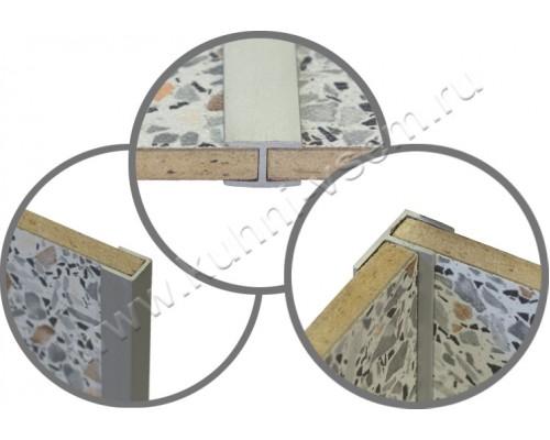 Профиль для кухонной стеновой панели 6 мм, стыковочный, L-600 мм, алюминий