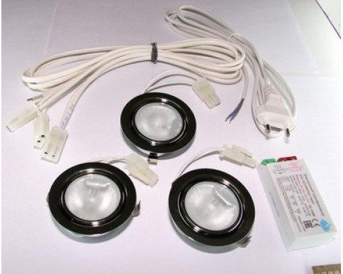 Комплект из 3-х врезных галогеновых светильников с блоком питания