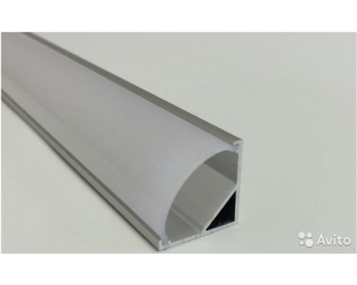 Профиль угловой алюминиевый, для светодиодных лент, 16*16*2000мм