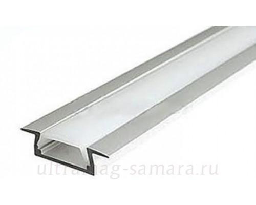 Профиль врезной алюминиевый для светодиодных лент, 22*6*2000мм (2 Заглушки+2 клипсы (КМС 2206)