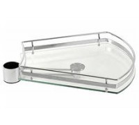 Полка-трапеция стеклянная для трубы 50 мм., хром РTJ016-29